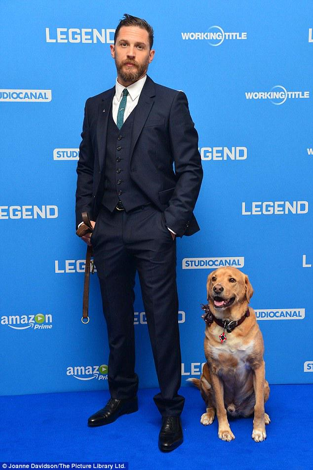 Oh, just Tom Hardy bringing his dog to the UK premiere of LEGEND. http://t.co/RnKi8f8IB3