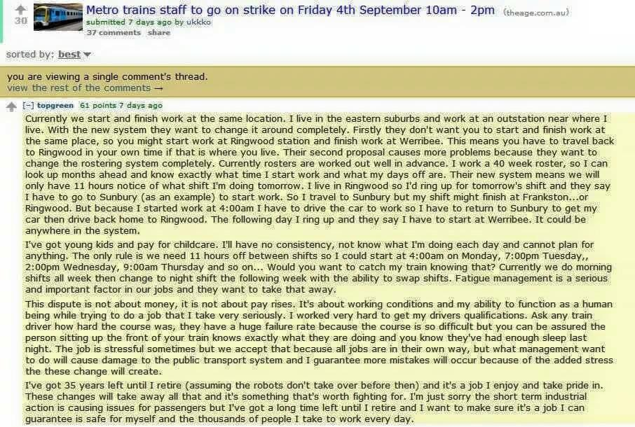 Complaining about the #trainstrike? Read this from a driver on Reddit http://t.co/dlhrwBO2C8