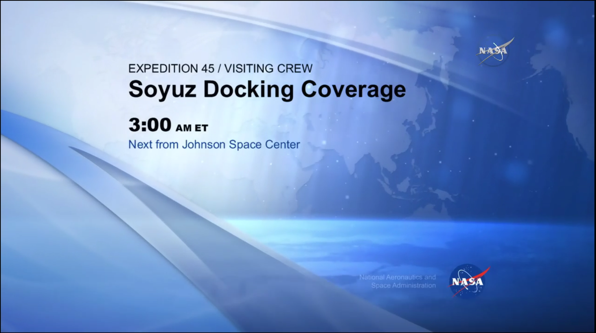 Tune in to @NASA TV now for live Soyuz docking coverage starting in a few minutes - http://t.co/nLRaQEbUda #Exp45 http://t.co/9AtKfmAI71