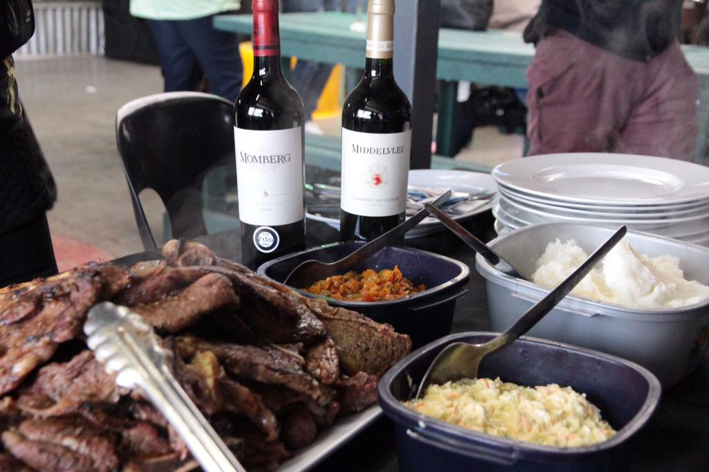 Lunch has arrived at @ChafPoziSoweto! Of course, we're gearing up for @SowetoLovesWine tonight