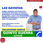 """barrio las gaviotas, unete a la SOLUCIONES SERIAS, por Cartagena y se parte de ella. ¡Te esperamos!"""" http://t.co/GFxcXDpY5l"""