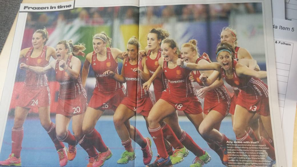 Absolutely awesome pic of @EnglandHockey ladies in @sportmaguk today. Finally a photo worthy of their achievement :) http://t.co/uc6U7PDJXN