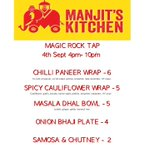 Tonights menu from @Manjitskitchen serving tasty Indian treats from 4pm-10pm #magicfromthesource #Huddersfield http://t.co/e3HyOKtezA