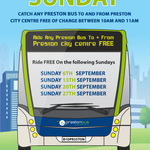 FREE Bus travel every Sunday in September in #Preston great idea from @PrestonBus @BIDPreston http://t.co/d4N2iyov7r