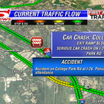 FIRST ALERT TRAFFIC: Exit Ramp CLOSED due to a serious car crash on I-26 WB at College Park Rd. Use Caution #chstrfc http://t.co/t5GWpyefZ4