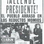 """4 septiembre de 1970 Salvador Allende gana elecciones presidenciales en #Chile 11 sept de 1973 """"YO NO ME RENDIRÉ"""" http://t.co/x7sk4as8mz"""
