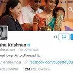 RT @galattadotcom: #Trisha #2Million followers in #Twitter.. @trishtrashers Congrats...