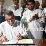 Mahinda Samarasinghe assumed duties as Minister of Skills Development & Vocational Training short whileago. #SriLanka http://t.co/kkh291p7sW