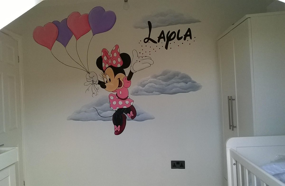 Minnie Mouse Hand Painted Nursery Wall Mural Www Custommurals Co Part 98
