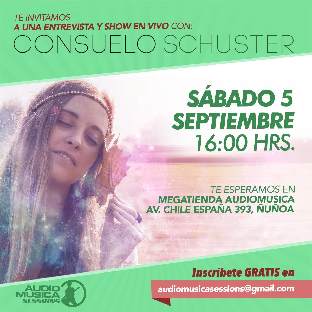 ¡Mañana  @ConsuSchuster en Audiomusica Sessions, inscríbete GRATIS c/tus datos en audiomusicasessions@gmail.com! http://t.co/tgkxCtaxx9