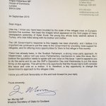 I wrote to Angus Robertson earlier asking him to use SNP time to debate #refugeecrisis. Cross party approach vital. http://t.co/IBqI4rpi97