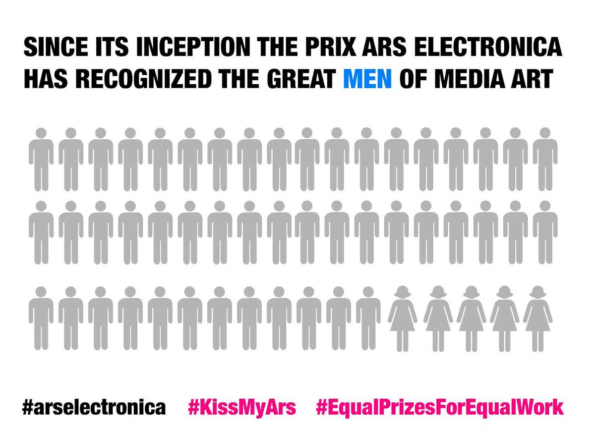 """The """"visionary"""" prize of #arselectronica15 has only been given to men  #kissmyars #equalprizesforequalwork http://t.co/k8LOC7ysP7"""