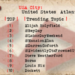 Atlanta 1 Elijah Holyfield 2 #BeyDay 3 #LaborDayWeekend 4 #MansionElan 5 #DarrenGoforth 7 Steve Weatherford http://t.co/osM5hBbbgY