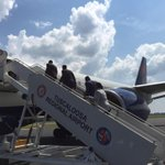 AlabamaFTBL: Boarding the plane in Tuscaloosa. Next stop ... Texas! #RollTide #WISvsBAMA http://t.co/o2uOWKeAiA