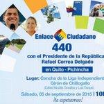 Todos invitados este sábado al #Enlace440 con el Presidente @MashiRafael desde #Chillogallo ¡Te esperamos! http://t.co/x3l2lrNHta