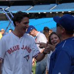 Gibby greets @JustinTrudeau during BP http://t.co/lj3BhebZs9