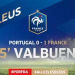 Dun superbe coup franc à 20m, Mathieu Valbuena trouve la lucarne de Rui Patricio! #PORFRA #AllezLesBleus http://t.co/T5jKRkUHdF