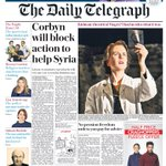 Saturdays Telegraph front page: Corbyn will block action to help Syria #tomorrowspaperstoday #bbcpapers http://t.co/JqKHyU77Mp
