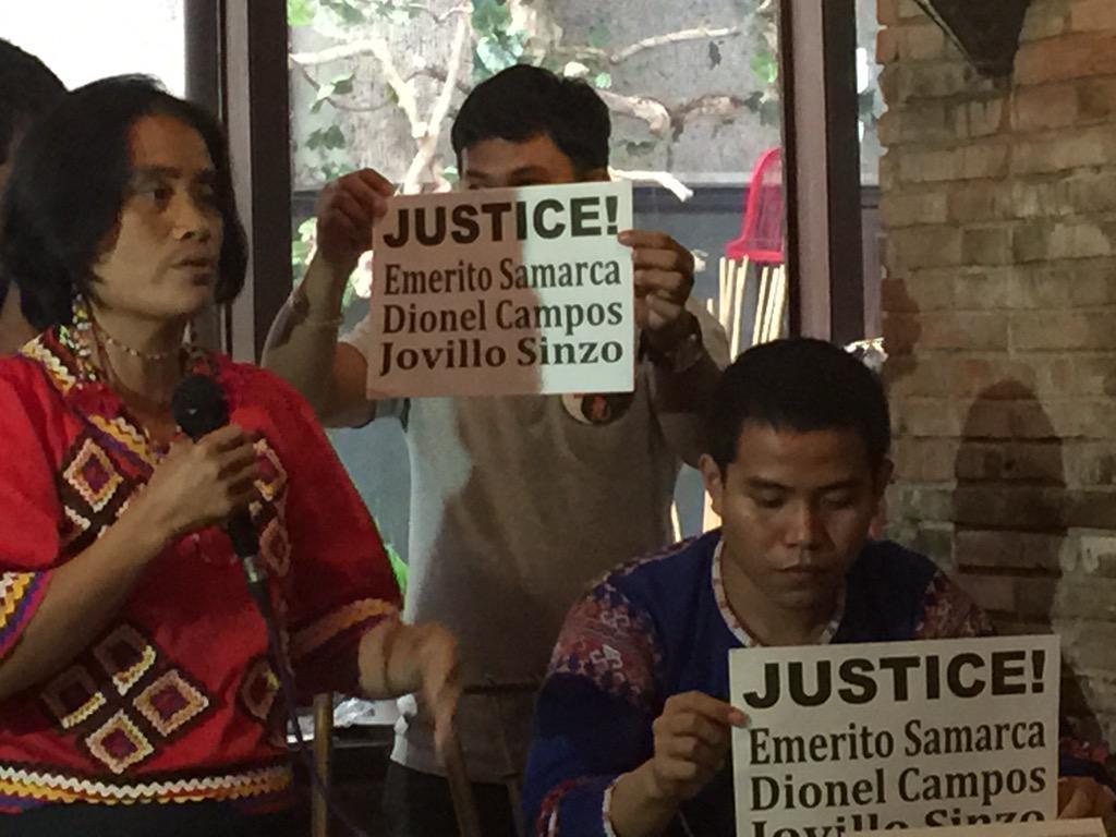 Mga katutubong Lumad humihingi ng katarungan sa pinatay nilang mga lider sa Mindanao. http://t.co/b1t5JigiSj