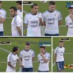 Mas capturas de #Tevez #Gago y #Messi dialogando en el campo de juego antes del amistoso de @Argentina http://t.co/fgjigeENOq