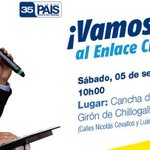 ITod@sl Acompañemos a nuestro Presidente @MashiRafael @35PAIS al #Enlace440 en #Chillogallo #Quito #DefensoresRC http://t.co/0mQ6DsnDxi