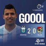 #VamosArgentina 32 PT: ¡Gol de Argentina! Gran definición de @aguerosergiokun por arriba del arquero. http://t.co/YLr5J3cHJJ
