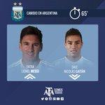 #VamosArgentina 20 ST: Se cae abajo el estadio con el primer cambio de Argentina. Adentro Messi, afuera Gaitán. http://t.co/f043JAR5bV