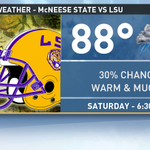 A chance for a shower or storm at start of @LSUfball http://t.co/F3vW4lgQYN