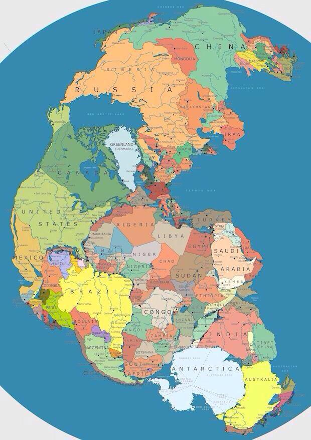 Map of Pangea with current international borders http://t.co/rcFDyIZYN6