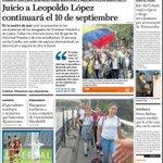 #Titulares El Nacional: Juicio a Leopoldo López continuará el 10 de septiembre http://t.co/IMLC28tivz http://t.co/Y7KjKGT9M3