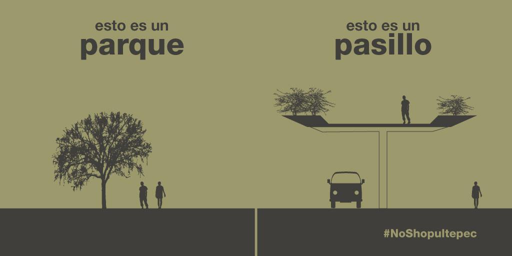 en un parque se puede correr, hay árboles, sombra. un pasillo elevado con arbustos no es un parque — #NoShopultepec http://t.co/t5sgTFO2Xq