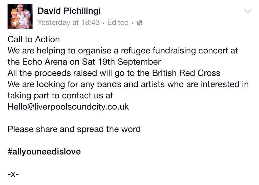 BANDS! WE NEED YOU! A message from our gaffer @SoundCityPich #AllYouNeedIsLove. Spread the word and RETWEET!!! http://t.co/kQM8NFS4gW