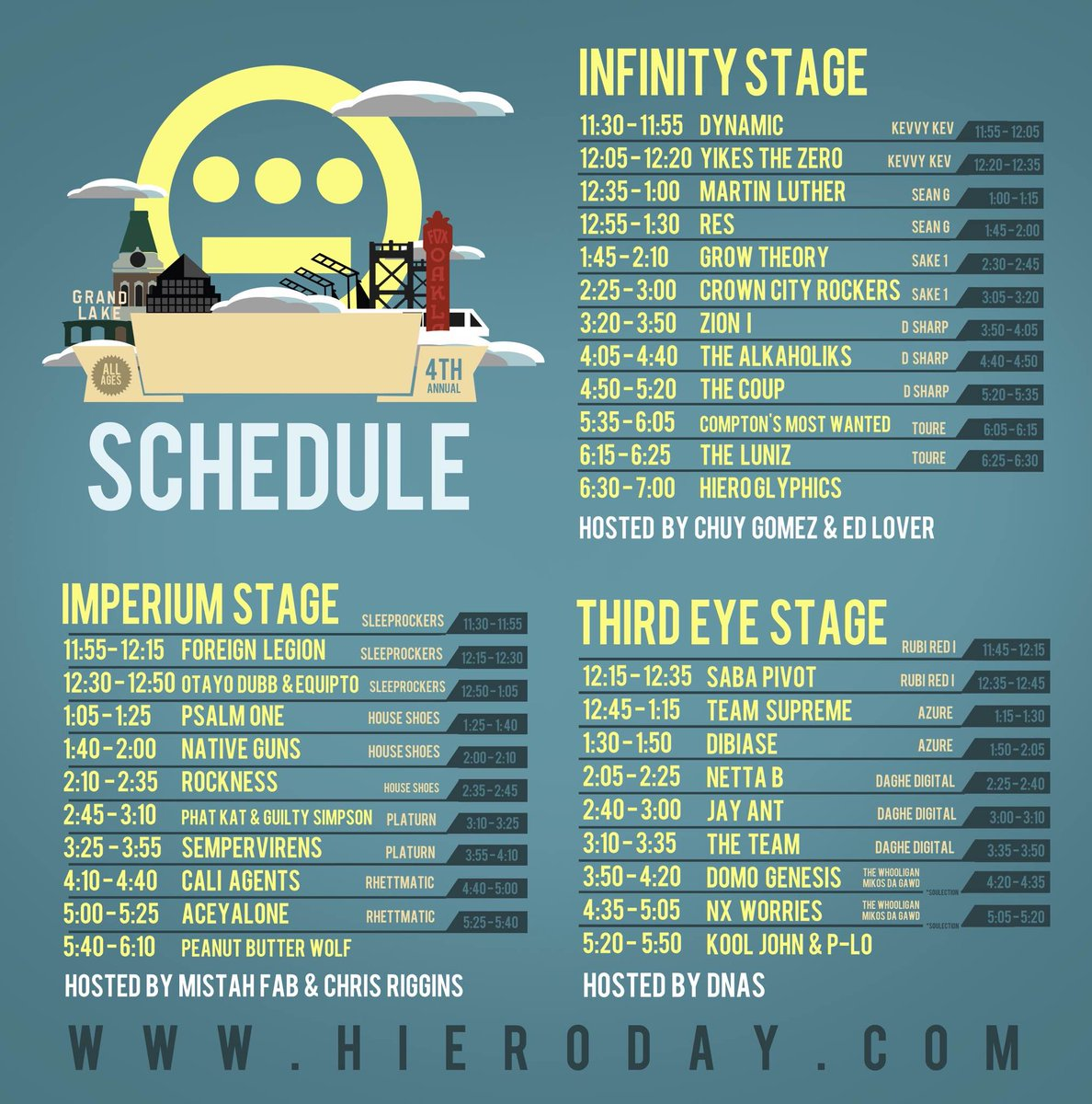 Set times for @HieroDay: Imperium stage w/the homies @Rhettmatic and @HouseShoes + a whole lot more. #hieroday2105 http://t.co/YtFoHE16pI