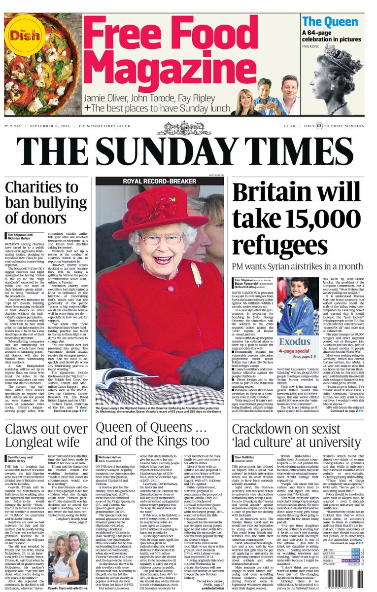 Sunday Times: Britain will take 15,000 refugees - PM wants Syrian airstrikes in a month #tomorrowspaperstoday
