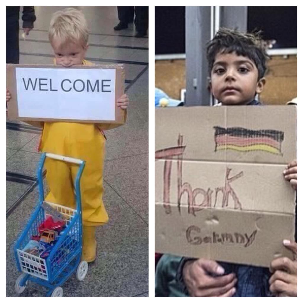 """""""두 어린이""""-자기 장난감을 가지고 기차역까지 마중나와 '어서 오라'는 손팻말 펼친 독일 어린이와 박스종이에다 '고맙다'는 인삿말 적어 내보이는 난민 어린이, 그저 보는 것 그 이상 더 보탤 말이 없다. http://t.co/YXzbjS0QKy"""
