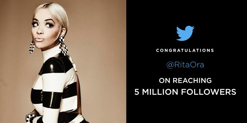 RT @TwitterMusic: Big news for all of the #Ritabots, @RitaOra has hit the 5 MILLION follower milestone! http://t.co/kMEj1xQ6aL