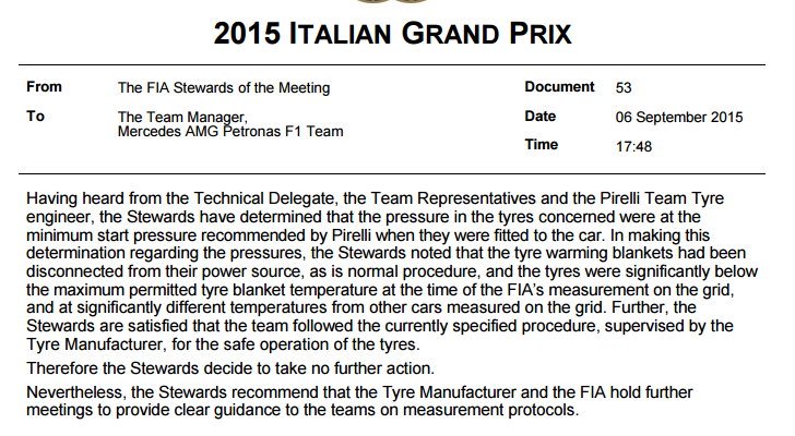 Stewards verdict on Mercedes and their tyre pressures http://t.co/DY5e1JKhr1