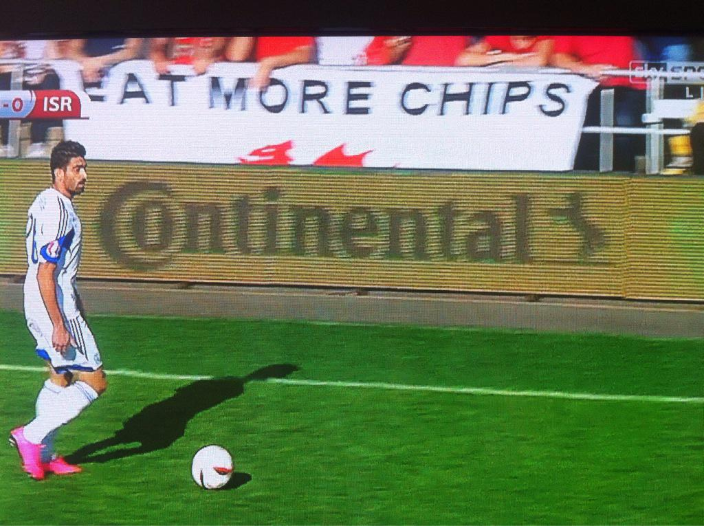 Proper flag at the Wales game #EatMoreChips http://t.co/8lj97RTaFh
