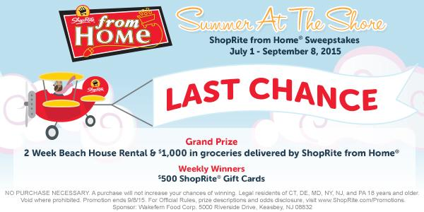 Enter for a chance to win a 2-week #ShopRiteBeachHouse rental or @ShopRite Gift Cards: http://t.co/tiyv0XBvcF http://t.co/Ngv3dWoCpj