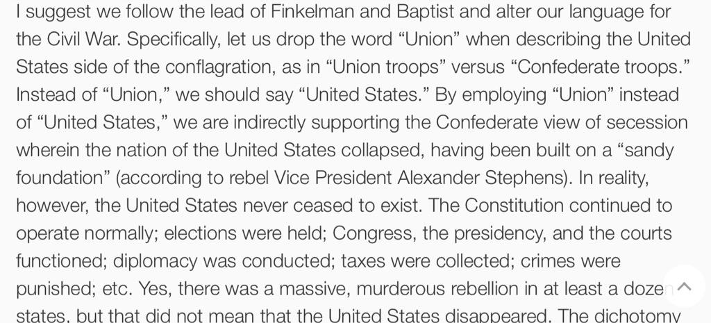 "Don't call the United States ""the Union"" when  discussing the Civil War. Subtle & powerful: http://t.co/6gYfMisNbo http://t.co/sHiOutMB8h"