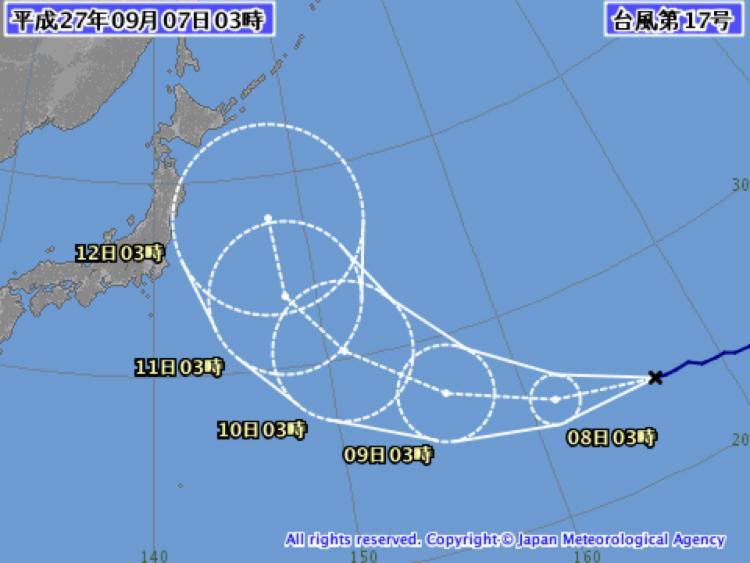 [横浜中華街]日付変更線の向こう側から遠路はるばるやってきた台風17号は今週後半の網走従業に影響をしそうな心配がある.しかし,昨日いきなり発生した台風18号は近畿串刺しコースで逃げ場がまったくない. http://t.co/hn0eXMcFdc