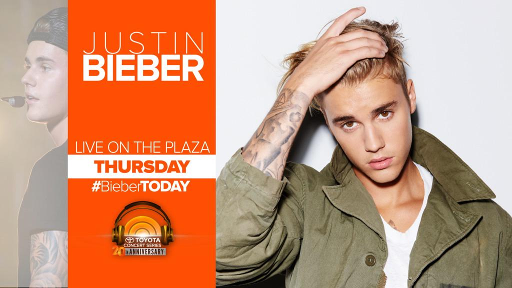 Thursday on TODAY... @justinbieber is live in concert on the plaza! #BieberTODAY http://t.co/0AZ1iLZM9x