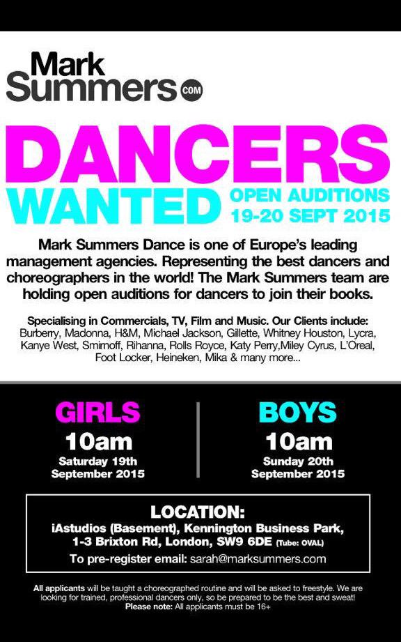 We're holding open #dance #auditions to join @marksummerscast #agency on 19th/20th Sept at @iAstudioslondon please RT http://t.co/Lo3B2pMIyT