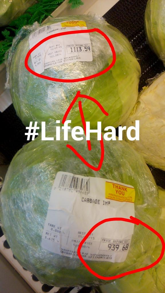 When you think about it living in Jamaica is expensive! One Cabbage being sold for $1,113.59 & $939.68 #HowYouLiving http://t.co/IYAYOZXMQd