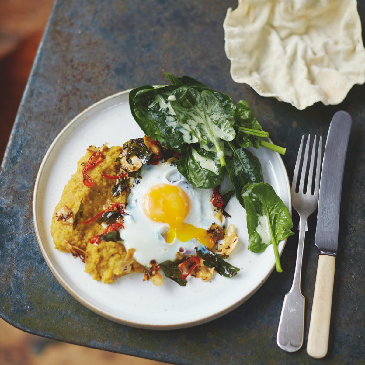 Tasty and delicious squash daal, special fried eggs & poppadoms #Lunch http://t.co/hy5BsP1OPx #JamiesSuperFood http://t.co/KK6Hjuk6Ix