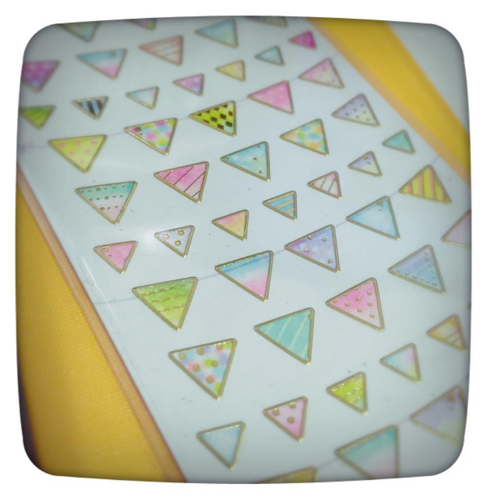 とても可愛い三角のシールを見つけて、これ使えばいくらでも女子力高い三角様量産出来る事に興奮している。 http://t.co/j7xGcHJHOa