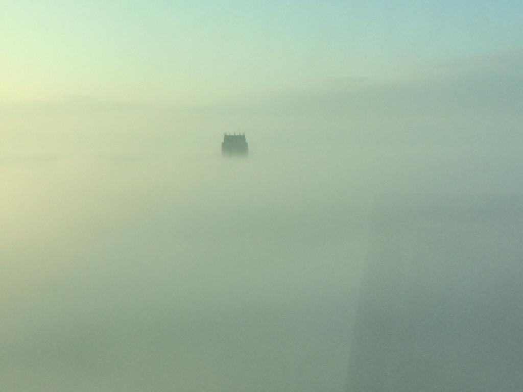 What it's like at the top of @stjohnsbeacon @RadioCity967 in the fog! That's the top of the Anglican Cathedral