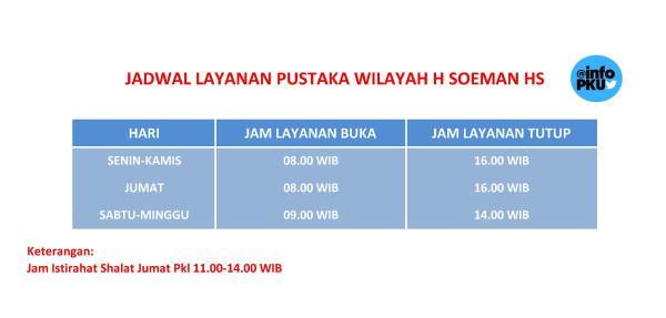 Layanan Puswil H Soeman HS buka tiap hari kecuali hari libur nasional http://t.co/5jXQnzccrO
