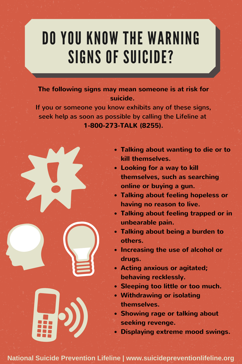 It's National Suicide Prevention Week! #BeThe1To share these warning signs with everyone you know. #NSPW15 http://t.co/sfvqzgcjwA