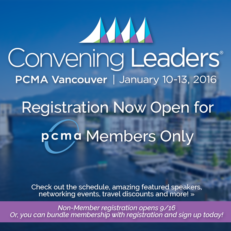 Registration for #pcmacl is now open for PCMA members! Register here>> http://t.co/F1GBXxxaGd #eventprofs http://t.co/vfIuC5AMa4